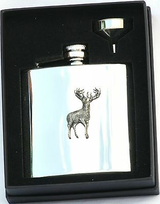 £28.99 • Buy Full Stag 6 Oz Hip Flask Personalised Shooting Gift Boxed FREE ENGRAVING