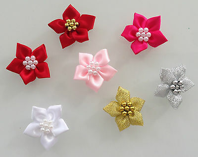 RIBBON POINSETTIA FLOWERS WITH BEADS - 40mm SATIN OR LUREX  • 2.25£