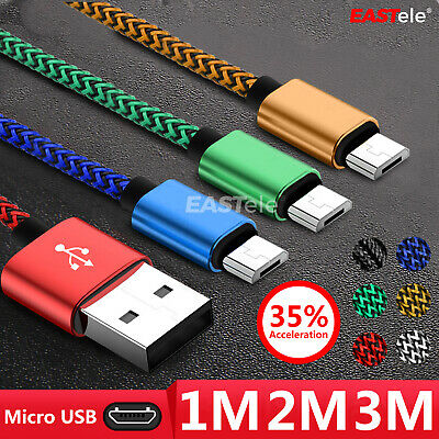 AU5.95 • Buy 1M/2M/3M Strong Braided Micro USB Data Charger Cable Cord For Android Samsung