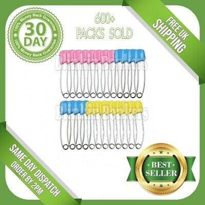 £3.89 • Buy 24 Pack Of Large Nappy Diaper Safety Pins Terry Nappies Baby Change Fasteners Uk