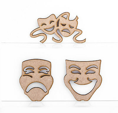 £4.31 • Buy Wooden MDF Greek Masks Comedy Tragedy Theatre Decoration 3mm Thick Tags Blank