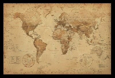 AU110 • Buy (framed) Map Of The World  Poster 66x96cm Print Picture Vintage Antique Wall New