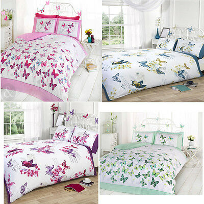 £19.99 • Buy Girls Pretty Butterfly Duvet Cover With Pillowcase Quilt Cover Bedding Bed Set
