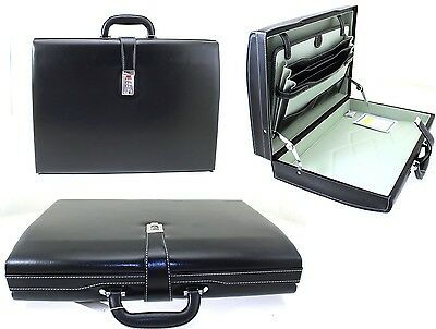 Mens Womens Executive Attache Case Faux Leather Expandable Briefcase Office Bag • 39.99£