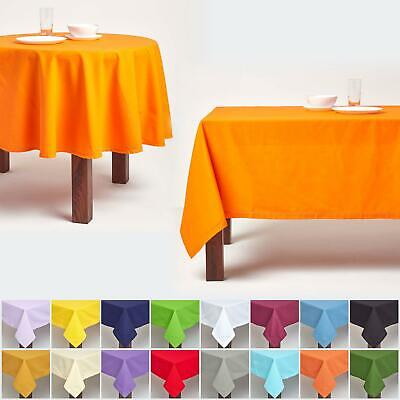 100% Cotton Plain Fabric Tablecloth Square Rectangular Round Dining Table Cover • 14.99£
