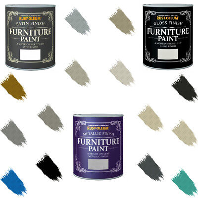 Rust-Oleum Chalky Furniture Paint Gloss Satin Matt Lacquer Metallic 125ml-750ml • 7.19£