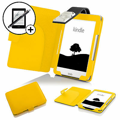 Leather Yellow Case Cover With LED Light Amazon Kindle 2016 Screen Prot Stylus • 10.99£