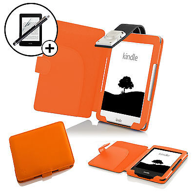Leather Orange Case Cover With LED Light Amazon Kindle 2016 Screen Prot Stylus • 10.99£