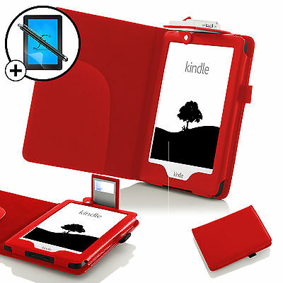 Leather Red Case Cover With LED Light Amazon Kindle 2016 Screen Prot & Stylus • 5.50£