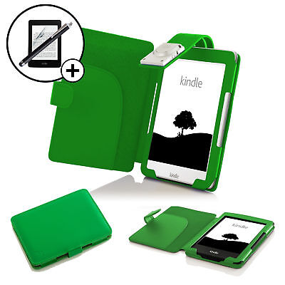 Leather Green Case Cover With LED Light Amazon Kindle 2016 Screen Prot Stylus • 10.99£