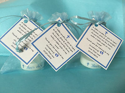 BABY SHOWER CANDLE Christening FAVOURS BLUE PINK YELLOW GUEST THANK YOU GIFTS • 34.99£