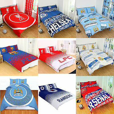 Cotton Blend - NEW FOOTBALL CLUB DOUBLE DUVET QUILT COVER SETS BOYS KIDS BEDROOM • 23.95£