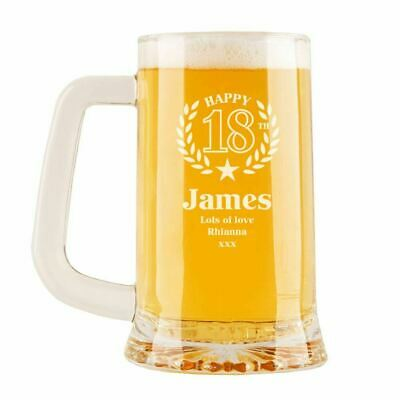 Personalised 18th Wreath & Star Engraved Glass Pint Tankard. Birthday Gift Ideas • 14.99£