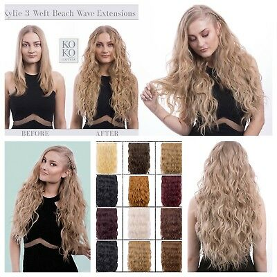 Koko Couture Deluxe Thick 3 Piece Weft Beach Wave Clip In Curly Hair Extensions. • 19.99£