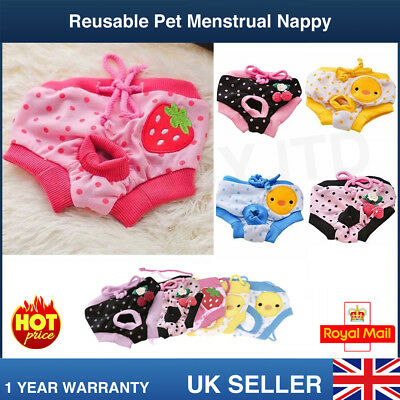 Reuseable Female Pet Dog Pants Bitch Menstrual Sanitary Nappy Diaper Pads S-L • 5.20£