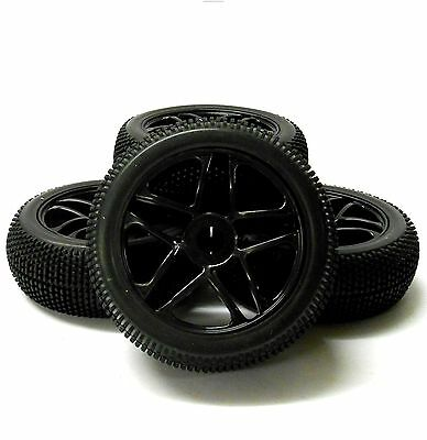180081 1/8 Scale Off Road Buggy RC 10 Spoke Wheels And Tyres Black X 4 • 19.94£