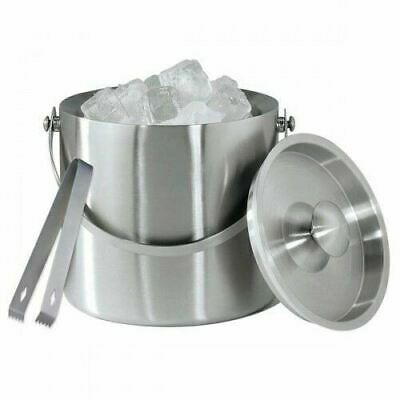 Large Double Walled Stainless Steel Insulated Ice Bucket With Tongs Lid 1.5 Ltr • 15.99£