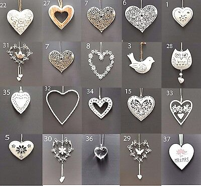Vintage Style Shabby & Chic Wedding Hanging Hearts Heart Home Decoration Gift • 3.75£