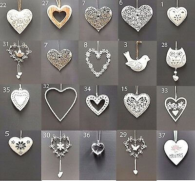Vintage Style Shabby & Chic Wedding Hanging Hearts Heart Home Decoration Gift • 2.85£