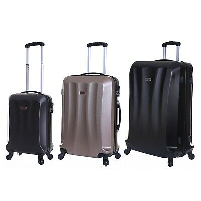 Set Of 3 Hard ABS 4 Wheels Suitcases Luggage Trolleys Shell Cases Bags Set • 49.99£