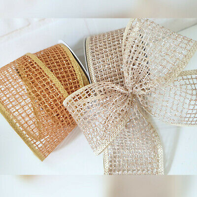 Wired Champagne / Gold Glitter Christmas Ribbon Web / Mesh Cake Wreath Tree Bow • 2.39£