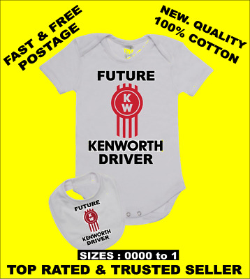 AU29.95 • Buy Baby Romper Suit PLUS A Baby Bib Printed With FUTURE KENWORTH DRIVER