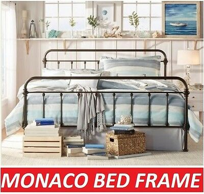 AU199 • Buy Monaco King Single Double Queen King Size Black White Metal Bed Frame