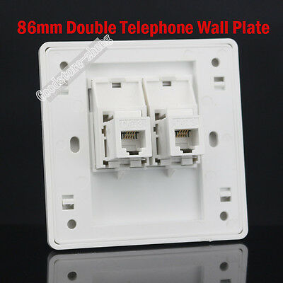£5.45 • Buy New!! Wall Plate Double RJ11 TEL Jack Modular Panel Faceplate Outle RJ11