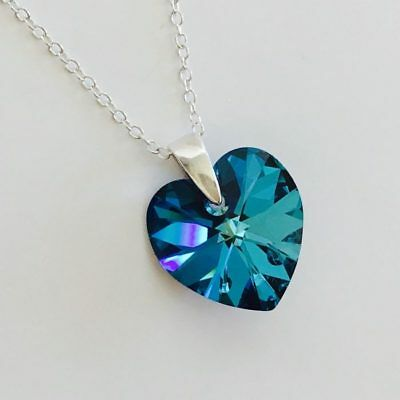 £11.99 • Buy 925 Sterling Silver Heart Necklace Pendant Blue Made With Swarovski® Crystals