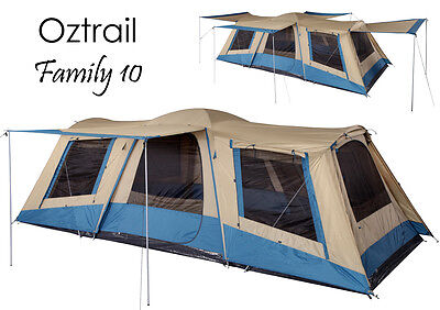 AU389 • Buy OZTRAIL FAMILY 10 Person (3 ROOM) Dome Family Tent - Sleeps 10