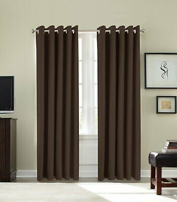 CHOCOLATE BROWN COTTON  CORD CURTAINS EYELET RING TOP   46 X 48   # RF 245 • 14.99£