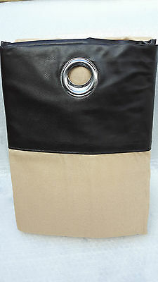 Curtains In Latte/beige/camel With A Brown Faux Leather Ring Top 90 X 90  • 26.99£