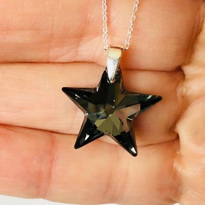 Made With Swarovski® Crystals Star Necklace Pendant Jewellery 925 Silver Night • 12.99£