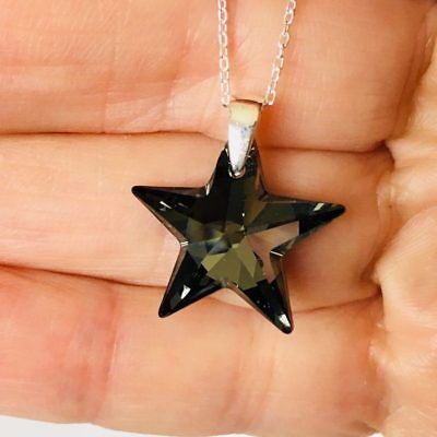 £13.99 • Buy Made With Swarovski® Crystals Star Necklace Pendant Jewellery 925 Silver Night