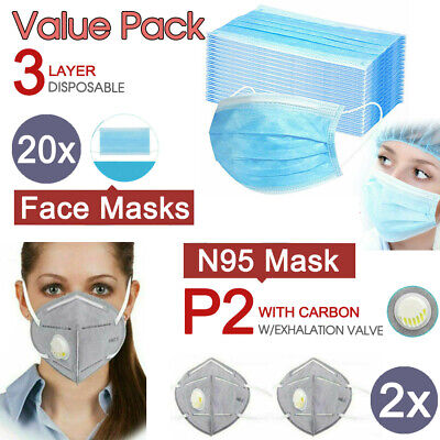 AU37.49 • Buy 20x Level 3 PLY Disposable Face Masks + 2x P2/N95 PM2.5 Respirator W /Exhalation