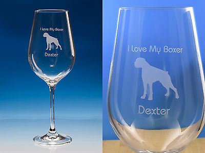 Boxer Dog Gift Engraved Fine Quality Wine Glass: Can Be Personalised, Boxer Gift • 13.95£