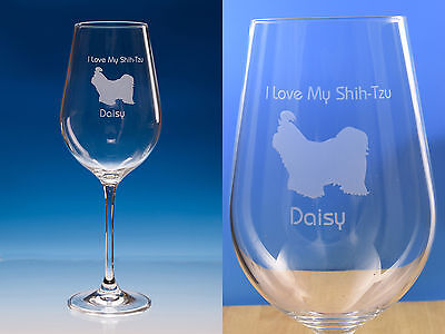 £18.95 • Buy Shih Tzu Personalised Engraved Large Fine Quality Wine Glass Dog Lover Gift