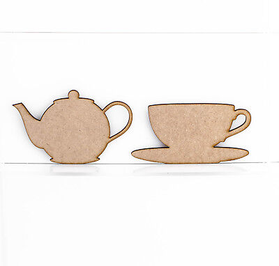 £2.01 • Buy Wooden MDF Teapot Teacup Craft Shape Embellishment Sign Blank 3mm Thick