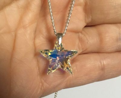925 Silver Necklace Pendant Made With Swarovski® Crystals Star Jewellery AB Gift • 12.99£
