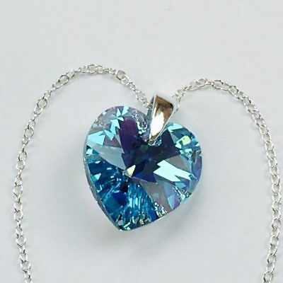 £11.99 • Buy 925 Silver Necklace Pendant Heart Aquamarine AB Made With Swarovski® Crystals