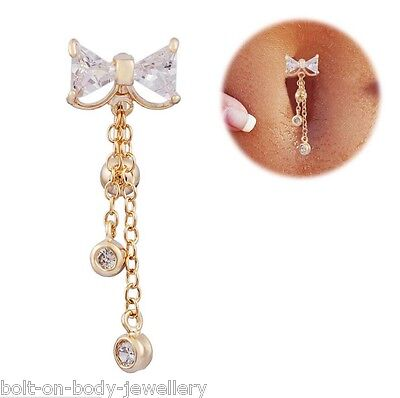 Top Drop Bow Navel Belly Bar Gold Plated White Gem • 4.39£