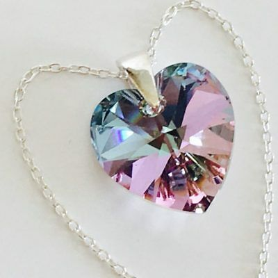 £11.99 • Buy 925 Sterling Silver Heart Necklace Pendant Vitrail Made With Swarovski® Crystals