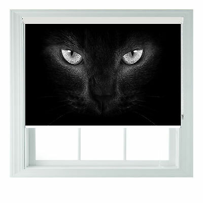 Cats Eyes B&W Photo Blackout Roller Blinds For Kitchen Bathroom Various Sizes • 65£