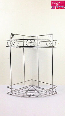 AU2.99 • Buy 2 Tier Kitchen Corner Shelf Shower Caddy Bathroom Storage Rack Shelves Organizer