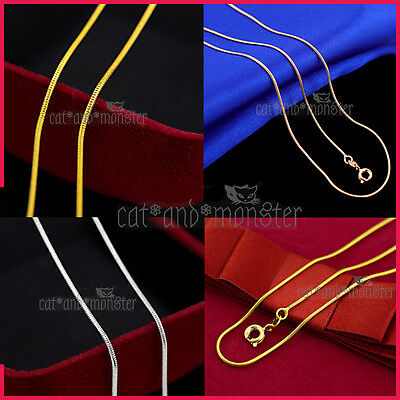 AU4.99 • Buy 18K GOLD GF MEN WOMEN GIRLS KIDS SOLID 1MM SNAKE CHAIN NECKLACE For PENDANT GIFT