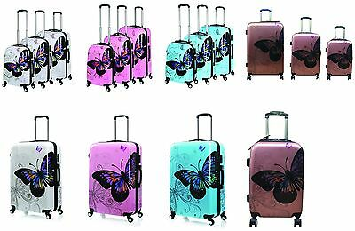Hard Shell 4 Wheel Spinner Suitcase PC Luggage Trolley Case Cabin 4Colour 3Size • 26.95£