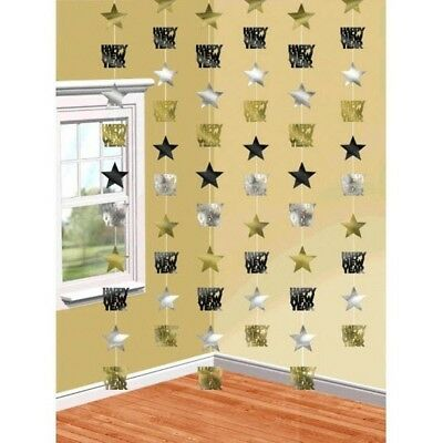 £3.78 • Buy Happy New Years Eve 6 Doorway Foil Star String Decoration Black Gold Silver
