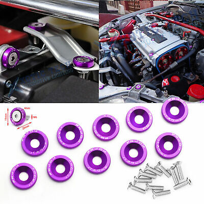 $9.99 • Buy 10x Purple JDM Billet Aluminum Fender/Bumper Washer/Bolt Engine Bay Dress Up Kit