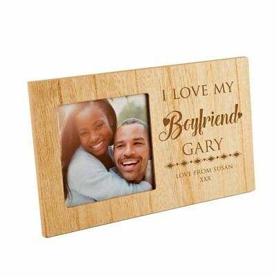 Bespoke I Love My Boyfriend Wooden Photo Frame, Birthday Gift, Xmas Present • 19.99£
