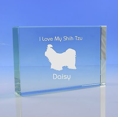 £19.95 • Buy Shih Tzu Paperweight Ornament Dog Lover Gift, Personalised Engraved Glass Gift